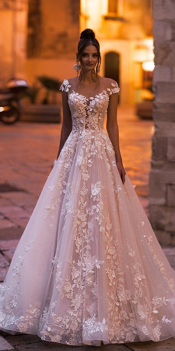 best wedding dresses a line blush illusion neckline with cap sleeves floral lace blunnybridal