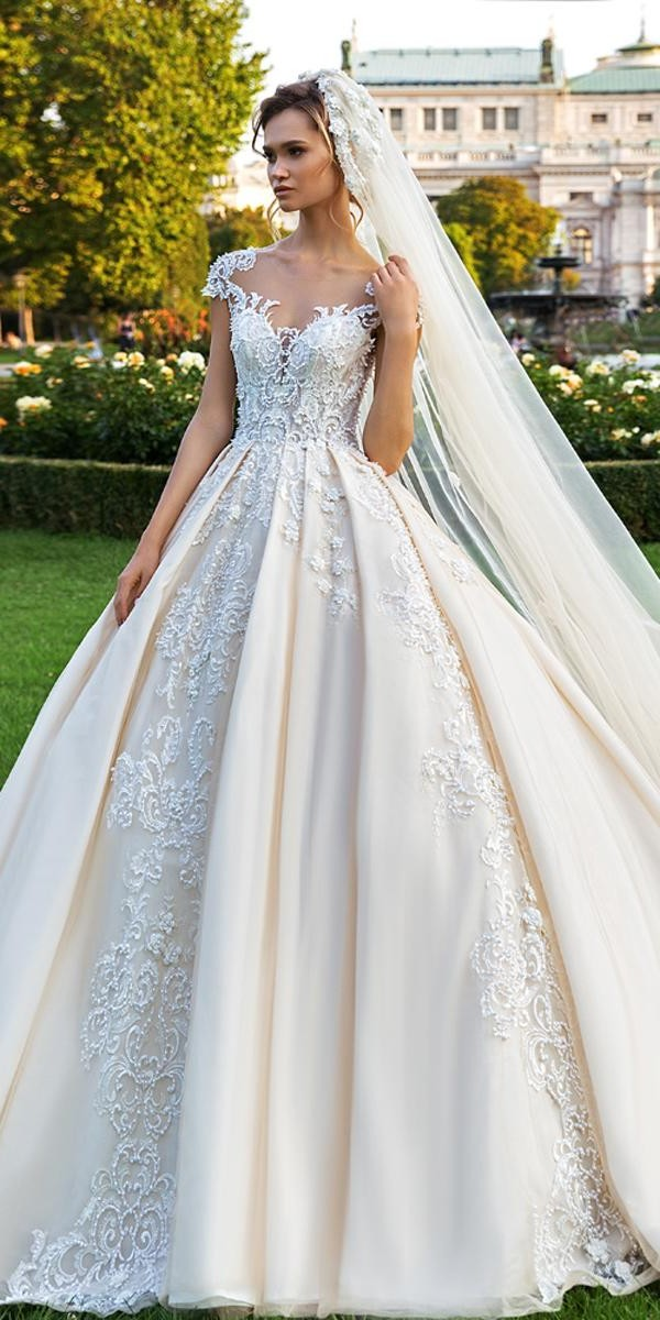 crystal design wedding dresses lace blush ball gown sweetheart neckline with cap sleeves royce