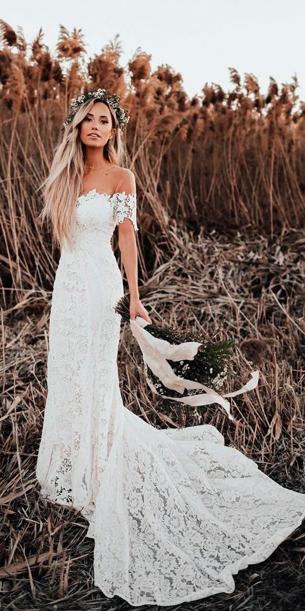 lace sheath off the shoulder sweetheart neck with train bohemian wedding dress lover sx society