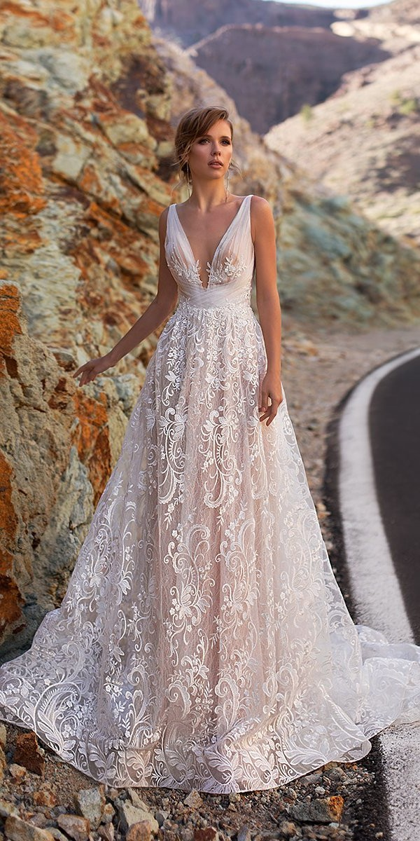 lace wedding dresses a line deep v neckline sleveless ari villoso