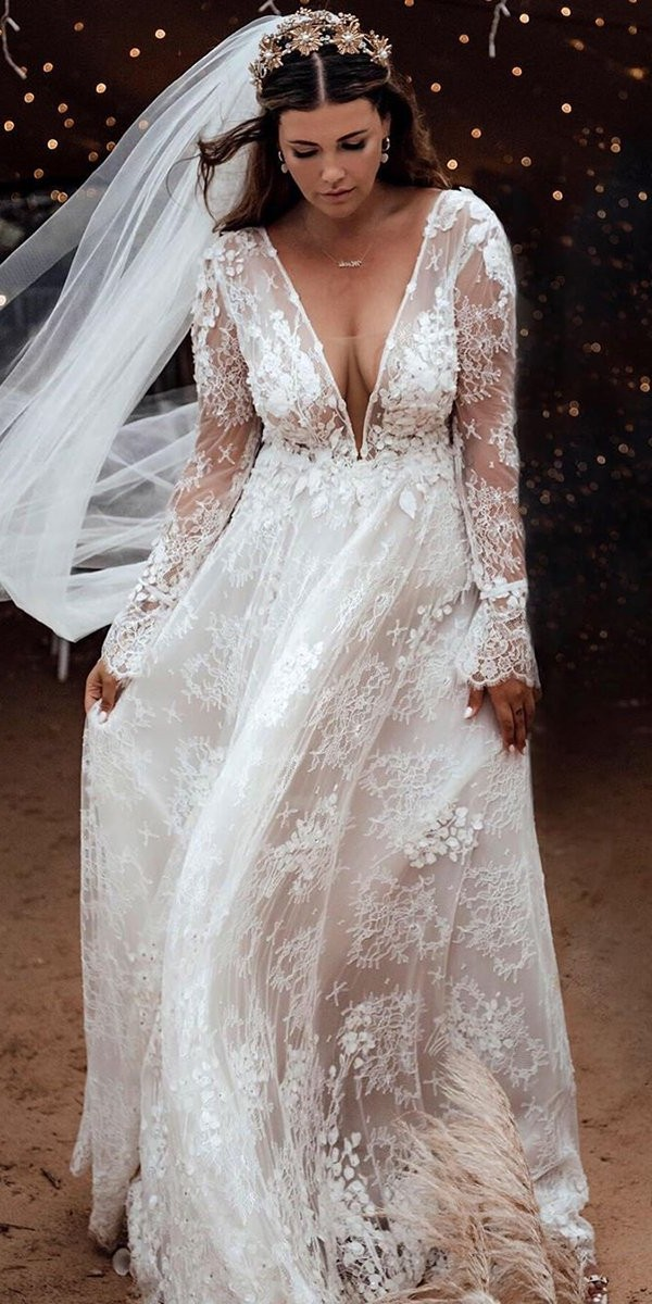 lace wedding dresses a line with illusion long sleeves plunging neckline tali photography