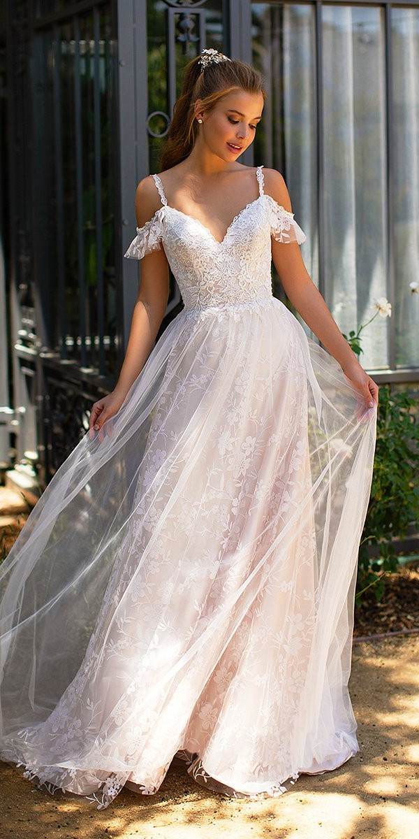 lace wedding dresses a line with spaghetti straps sweetheart neckline val stefani