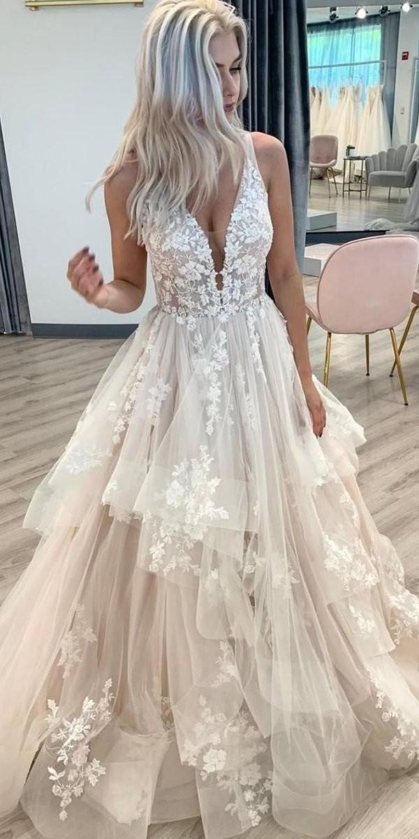 lace wedding dresses ball gown deep v neckline blush ruffled skirt martinalianabrida