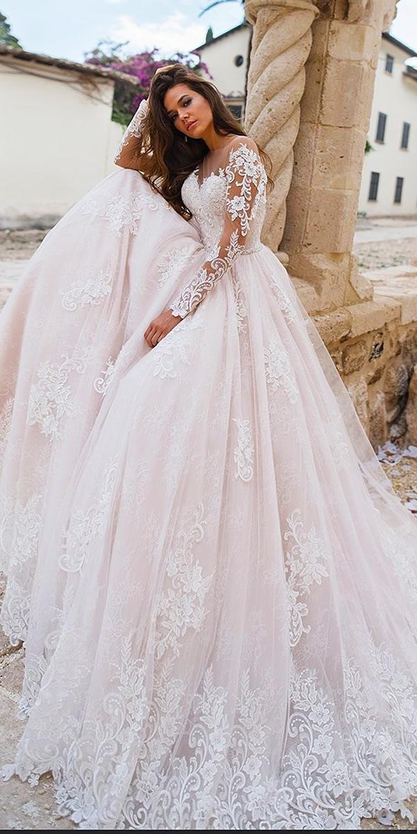 lace wedding dresses ball gown with illusion long sleeves blush lussanobridal