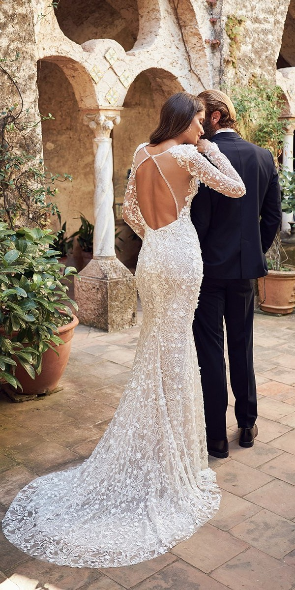 lace wedding dresses fit and flare open back with sleeves train wona