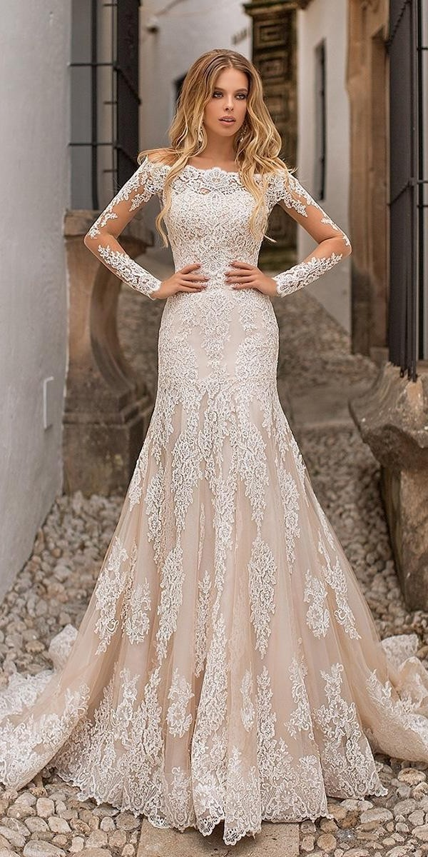 lace wedding dresses fit and flare with illusion long sleeves lace blush navibluebridal official