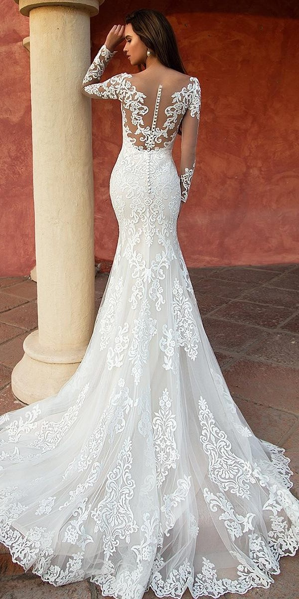 lace wedding dresses mermaid with illusion long sleeves tattoo effect back nora naviano