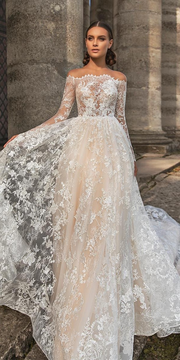 lace wedding dresses with sleeves a line off the shoulder lace arivilloso