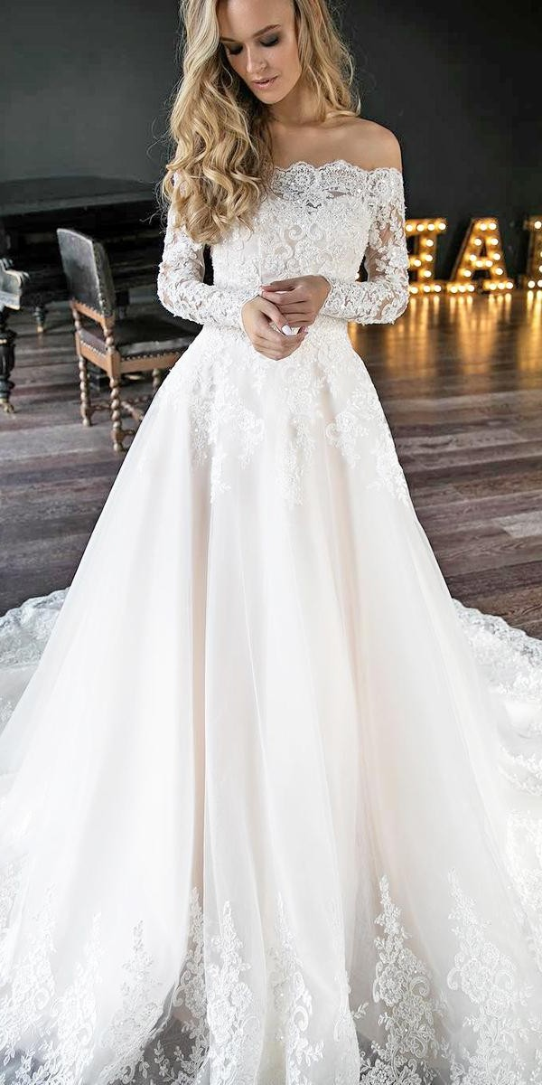 lace wedding dresses with sleeves a line off the shoulder strapless romantic oliviabottega