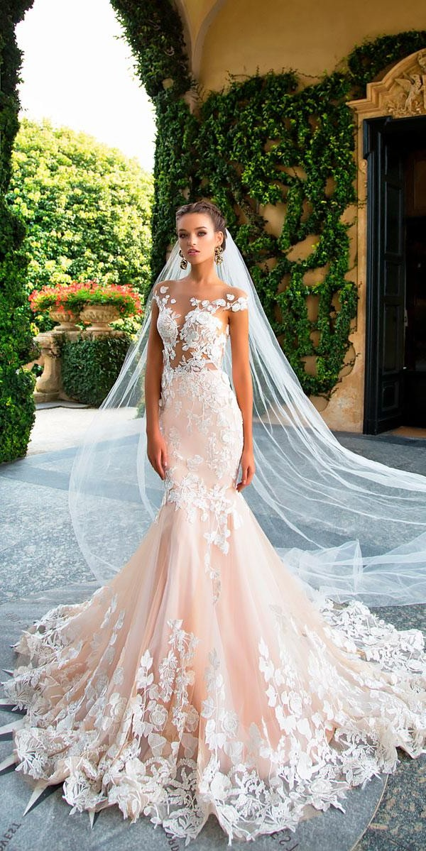 mermaid lace illusion neckline cap sleeves elegant wedding dresses mila nova