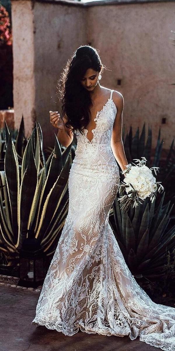 mermaid wedding dresses deep v neckline with spaghetti straps lace galia lahav