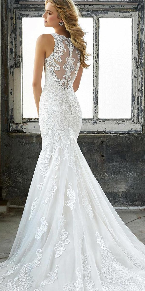 mermaid wedding dresses illusion back with buttons sleeveless mori lee