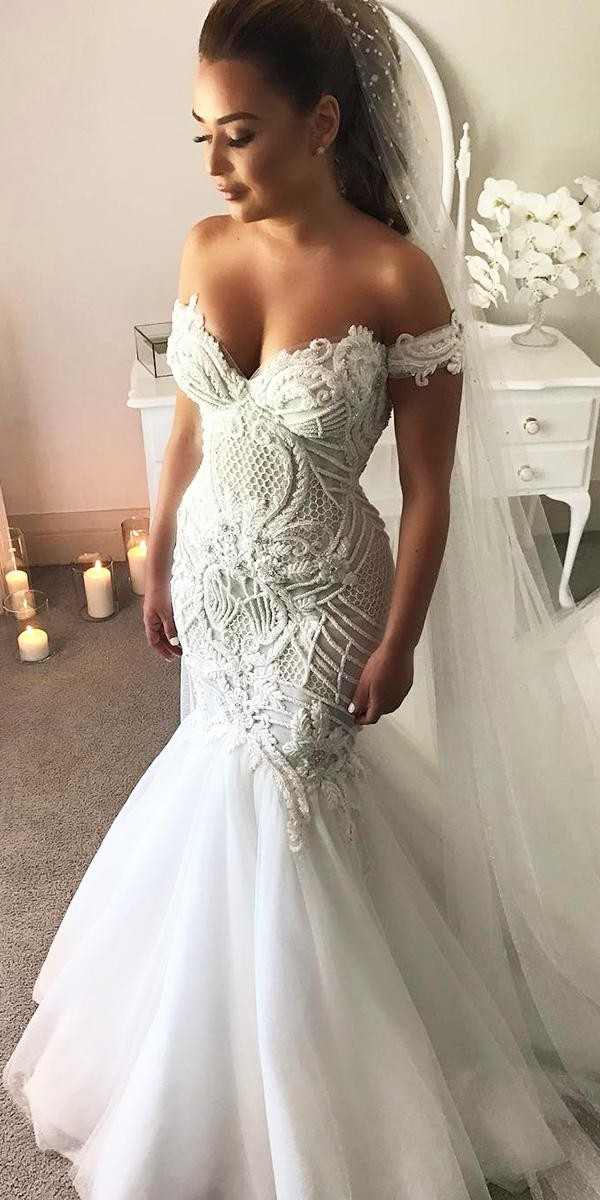 mermaid wedding dresses off the shoulder sweetheart lace witn veil george elsissa