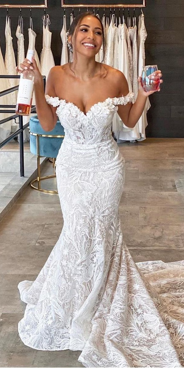 mermaid wedding dresses off the shoulder sweetheart neckline lace enzoani