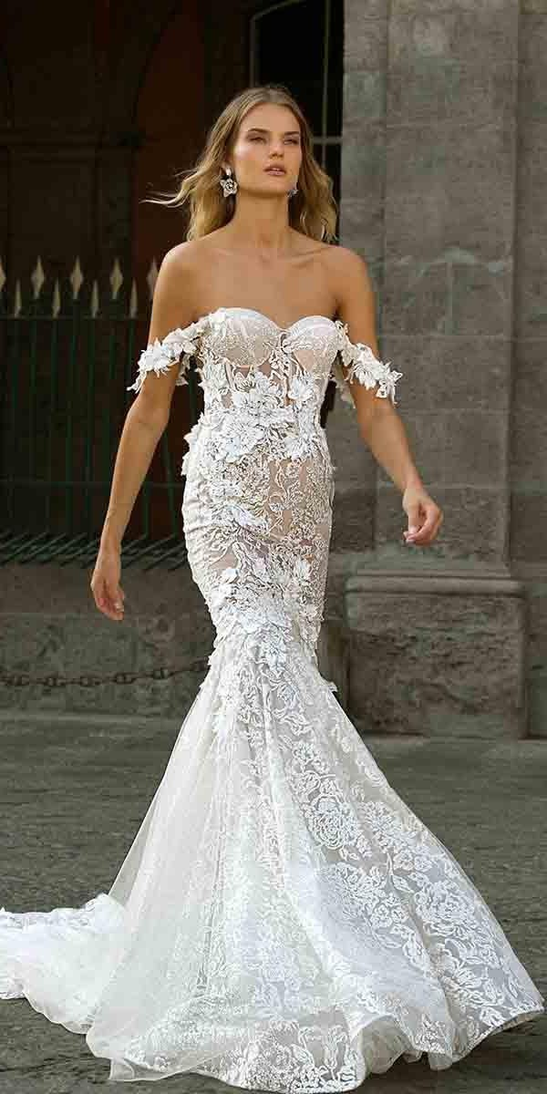 mermaid wedding dresses off the shoulder sweetheart strapless neckline floral appliques berta