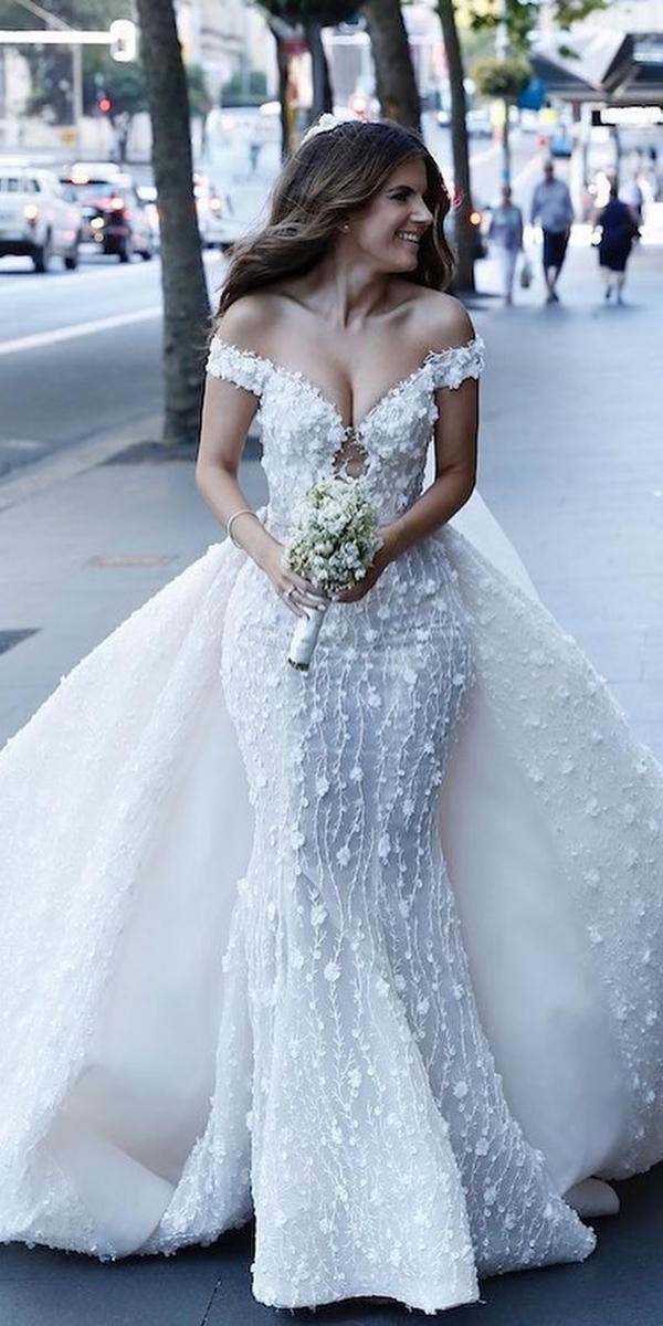 mermaid wedding dresses off the shoulder with overskirt floral appliques steven khalil