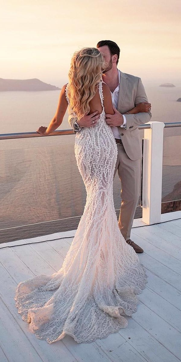 mermaid wedding dresses sexy open back lace with train pallas couture