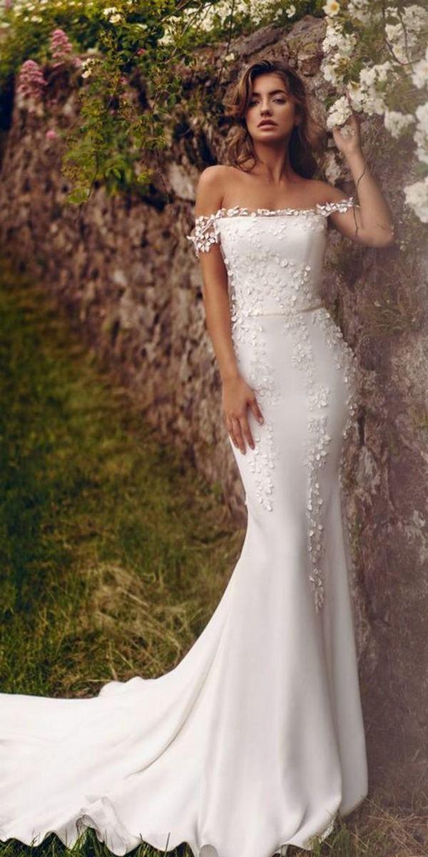 mermaid wedding dresses simple mermaid off the shoulder floral appliques stephanie allin
