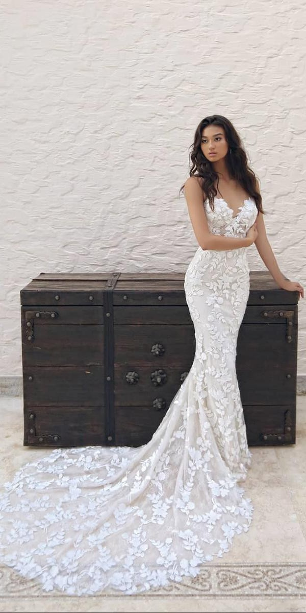 mermaid wedding dresses sweetheart floral appliques with train enzoani