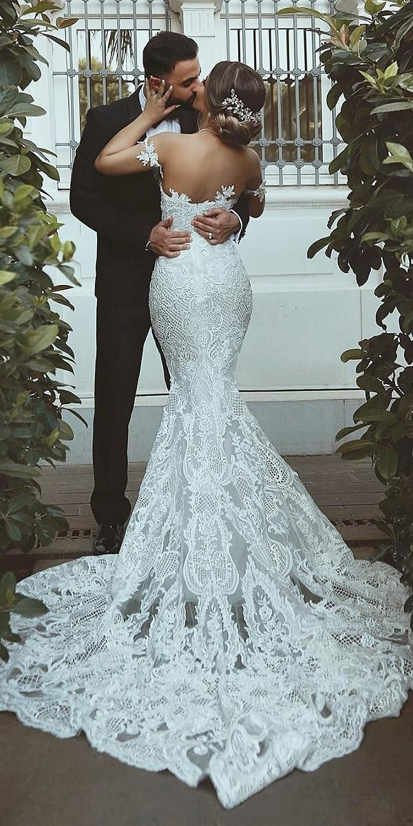 mermaid wedding dresses vintage off the shoulder lace with train said mhamad official