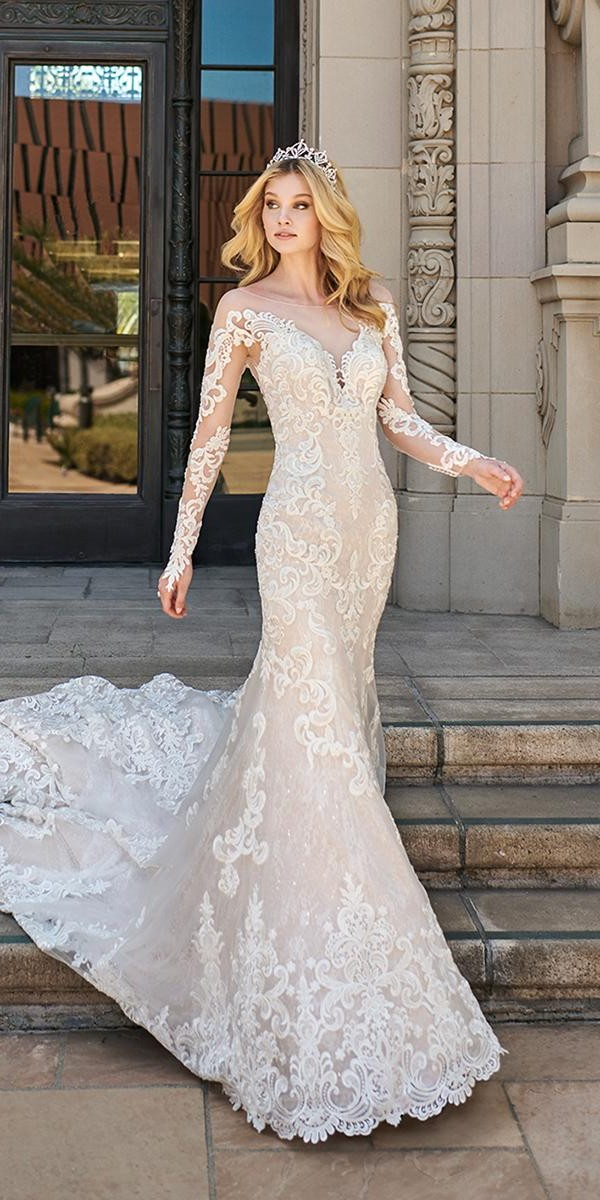 mermaid wedding dresses with illusion long sleeves lace val stefani