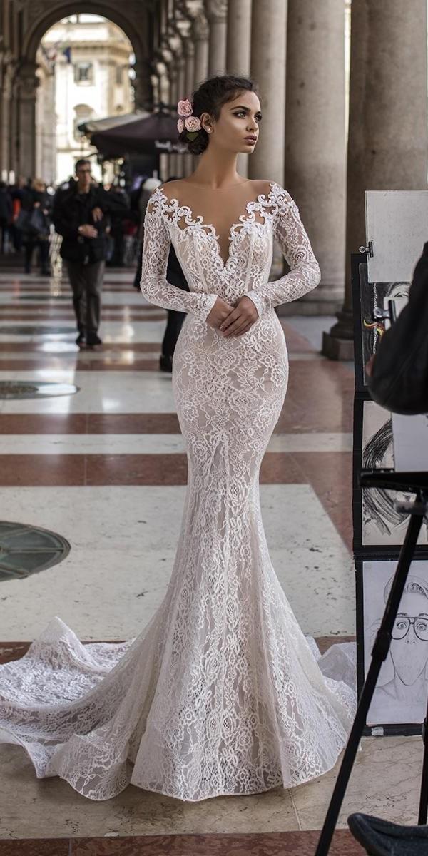 mermaid wedding dresses with long sleeves full lace deep v neckline tarik ediz