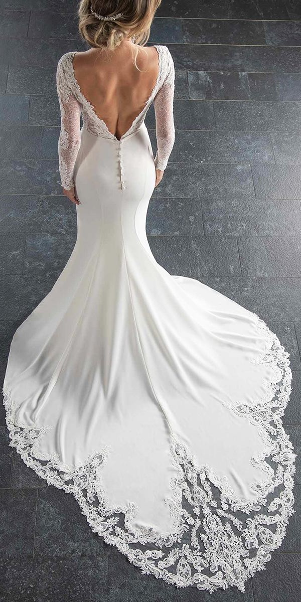 mermaid wedding dresses with long sleevs v back with train lace stella york