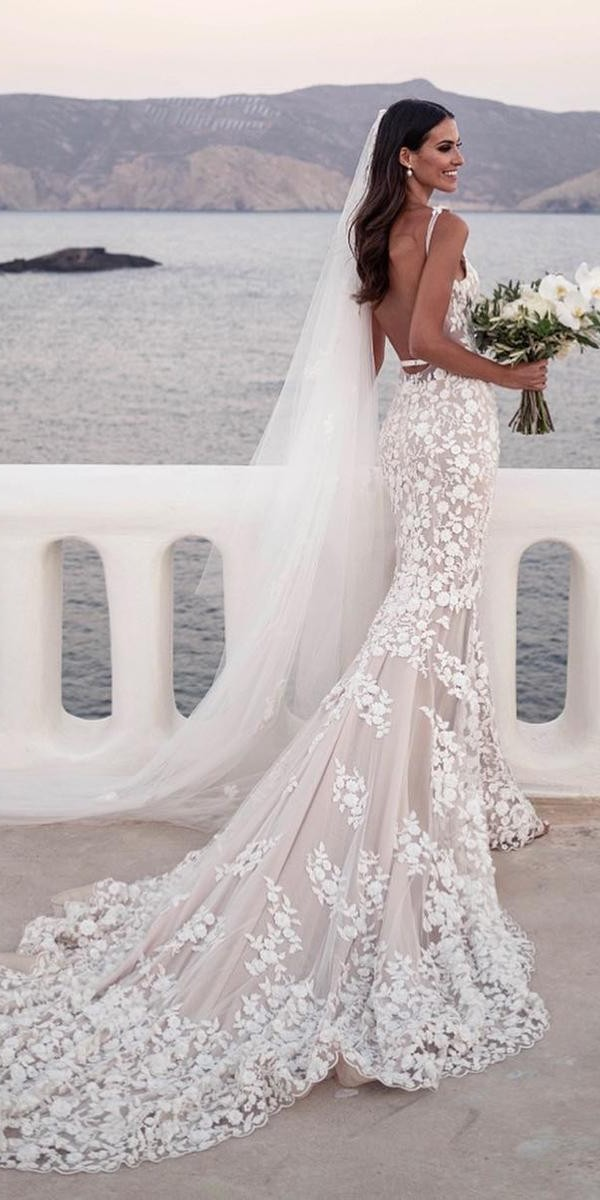 mermaid wedding dresses with straps low back floral blush with train steven khalil