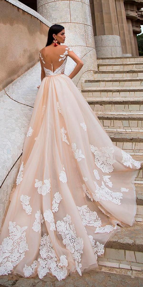 milla nova wedding dresses a line illusion back cap sleeves lace