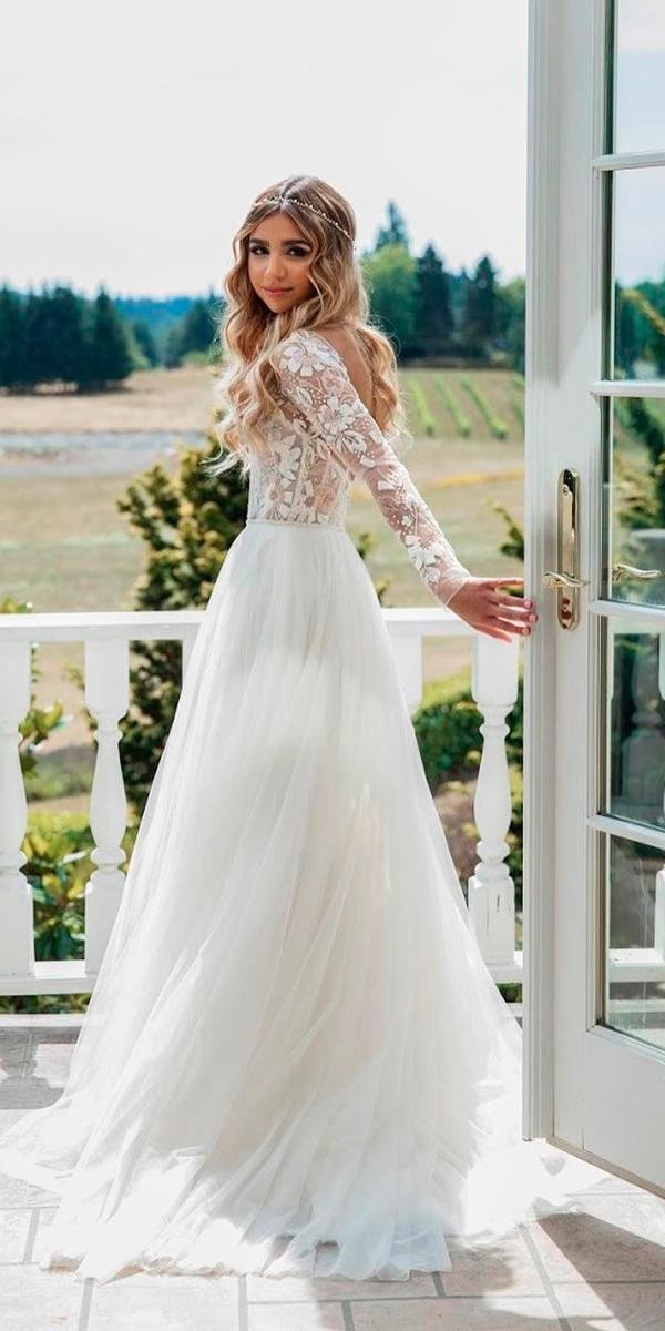 modest wedding dresses a line lace open back with sleeves elegant miss hayley paige