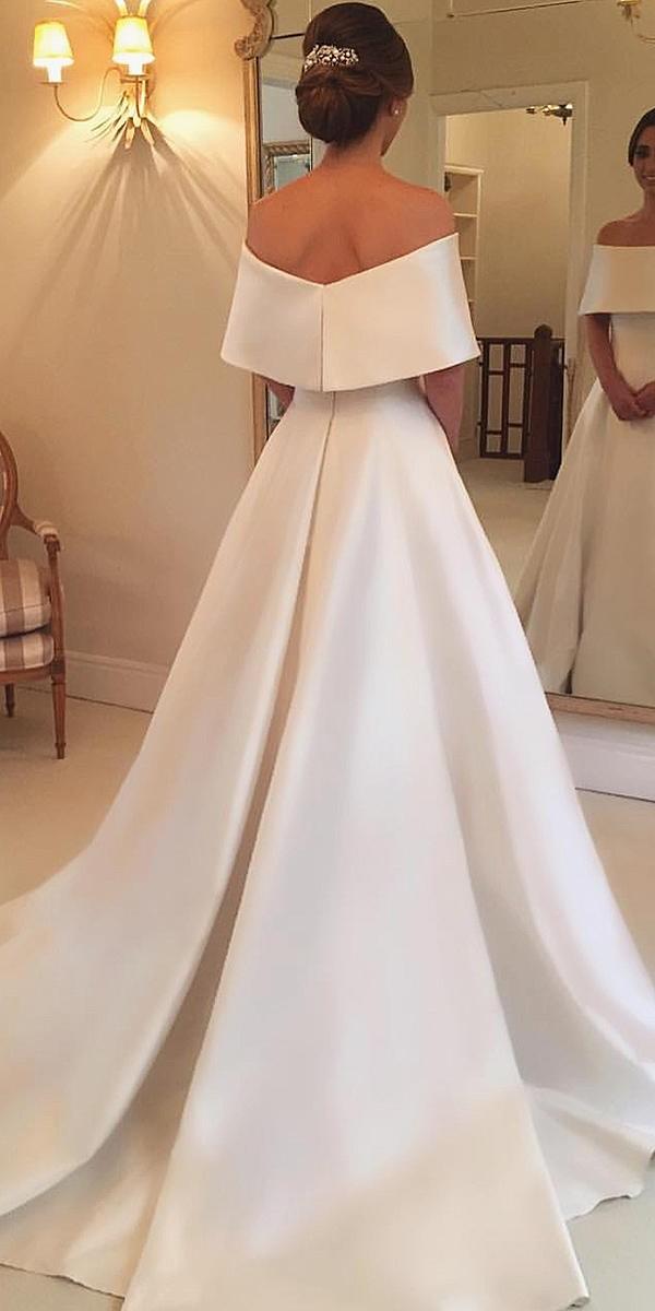 modest wedding dresses a line straight neckline simple wanda borges