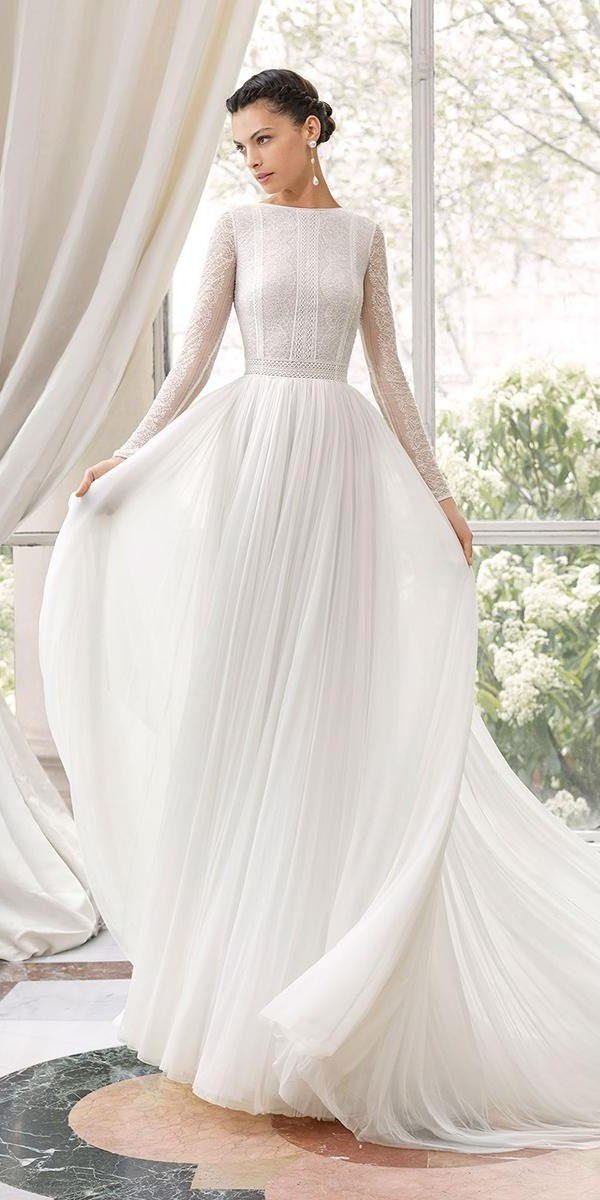 modest wedding dresses a line with long sleeves delicate lace top rosa clara
