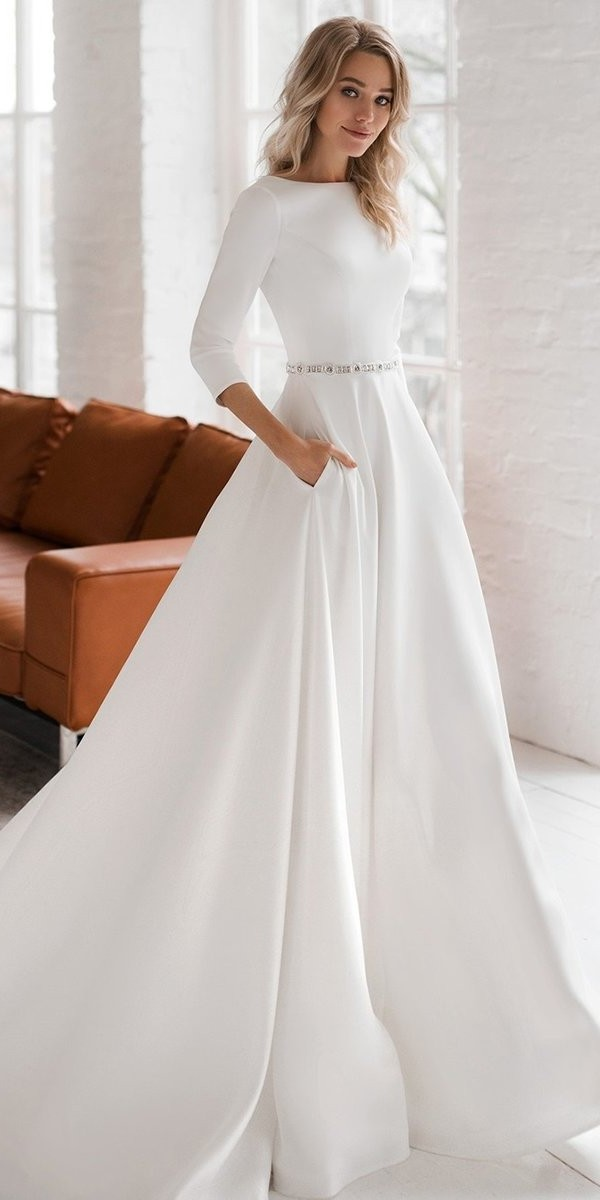 modest wedding dresses princess simple with long sleeves elegant dom vesta