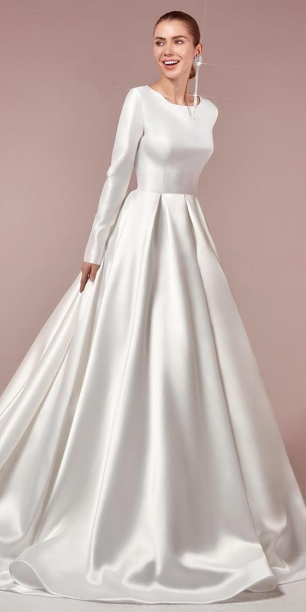 modest wedding dresses simple ball gown with long sleeves vierobridal