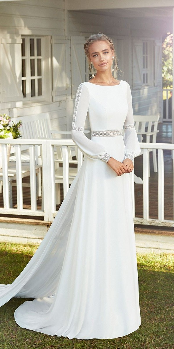 modest wedding dresses simple with long sleeves a line bohemian rosa clara