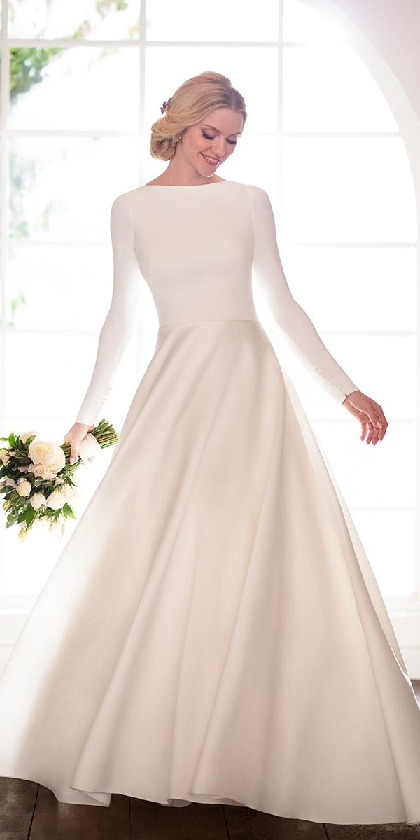 modest wedding dresses simple with long sleeves martina liana