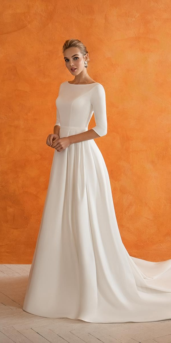 modest wedding dresses with sleeves a line simple innocentia