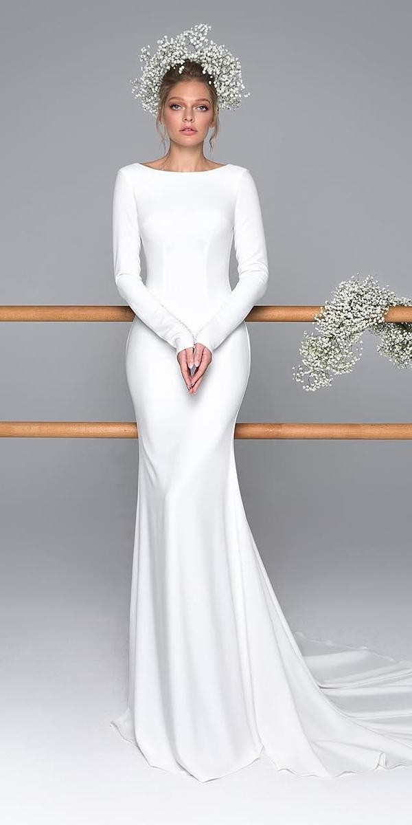 modest wedding dresses with sleeves sheath simple romantic evalendel