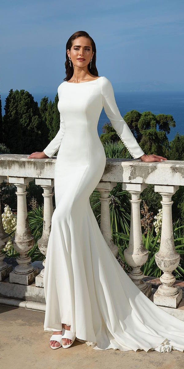 modest wedding dresses with sleeves sheath with long sleeves simple justin alexander