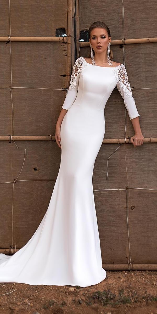 modest wedding dresses with sleeves trumpet simple ari villoso