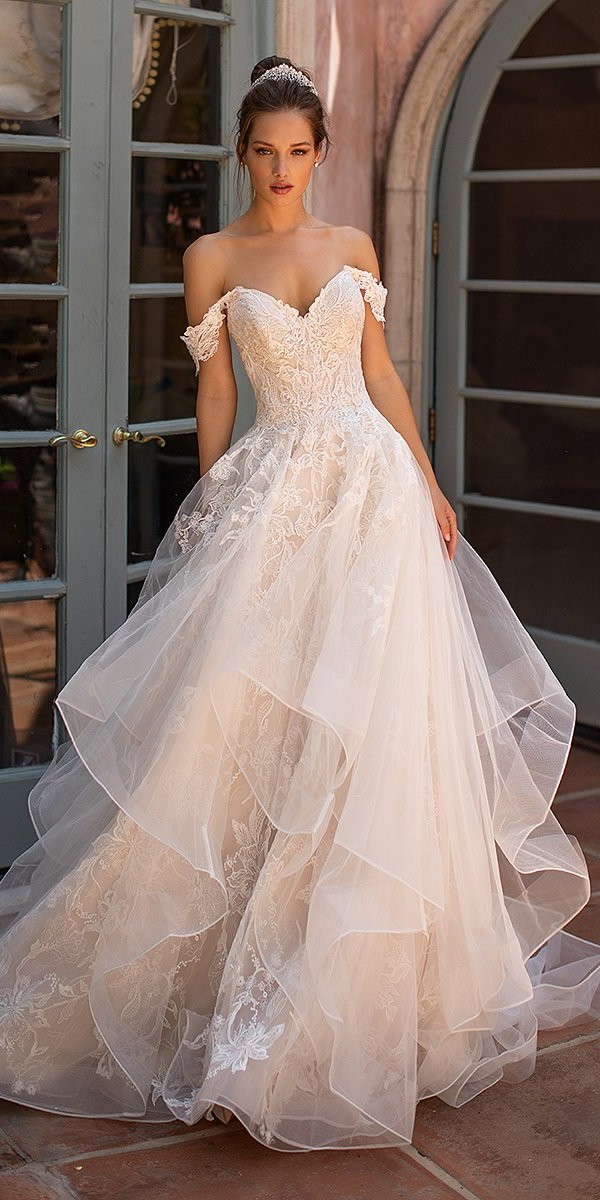 moonlight wedding dresses ball gown sweetheart neckline off the shoulder lace 2020