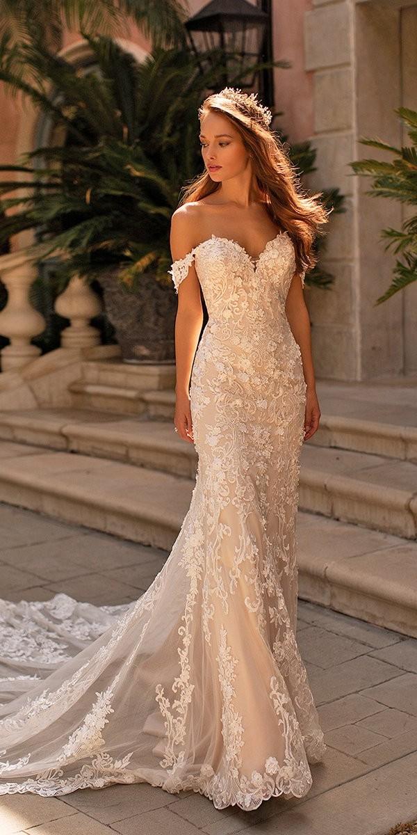 moonlight wedding dresses trumpet sweetheart neckline lace off the shoulder lace floral appliques