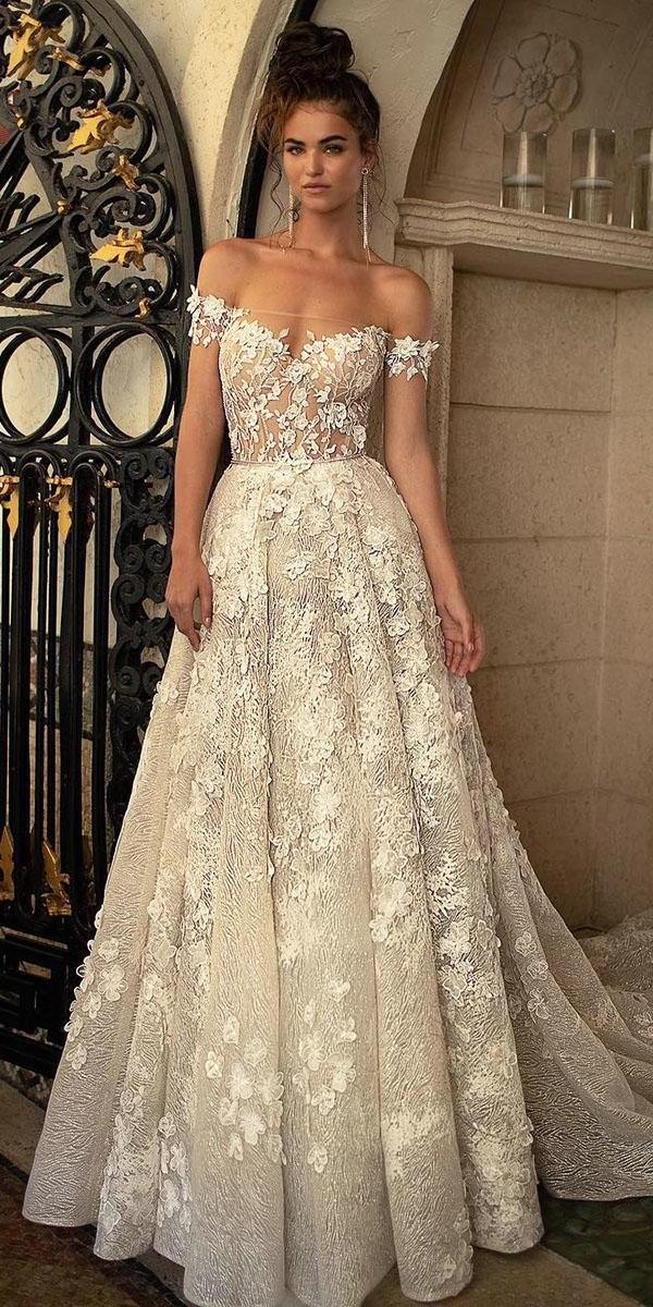 off the shoulder wedding dresses a line floral appliques ivory berta