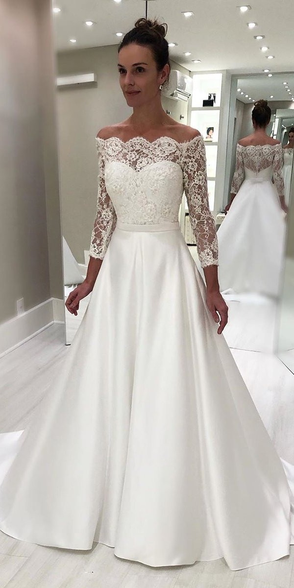off the shoulder wedding dresses a line with three quote sleeves isabellanarchi