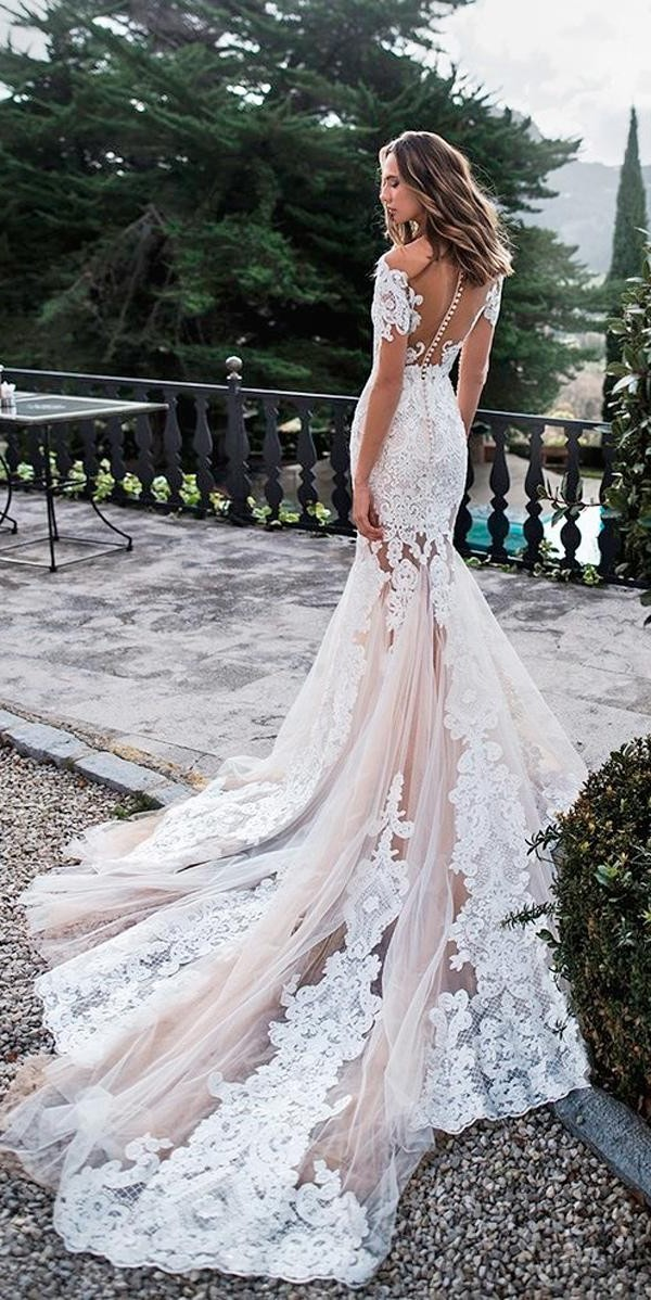 off the shoulder wedding dresses mermaid lace backless blush with illusion sleeves noranaviano sposa