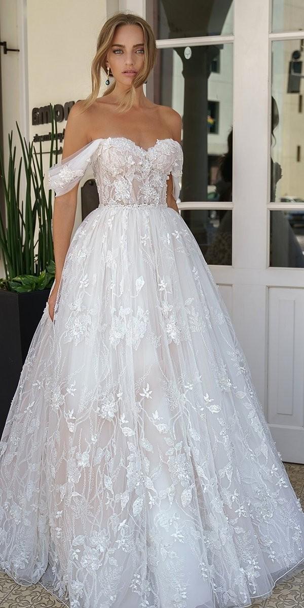 off the shoulder wedding dresses strapless neckline floral galitrobinik