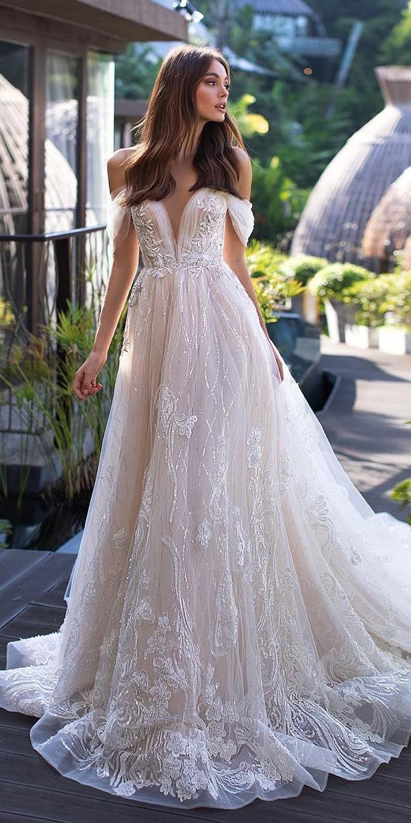 romantic bridal gowns a line off the shoulder sequins blush lorenzorossi official