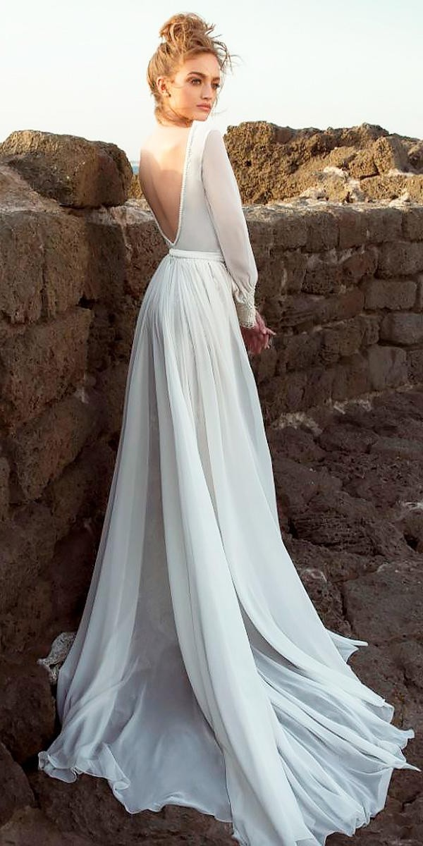 simple a line open back rustic wedding dresses with long sleeves dany mizrachi