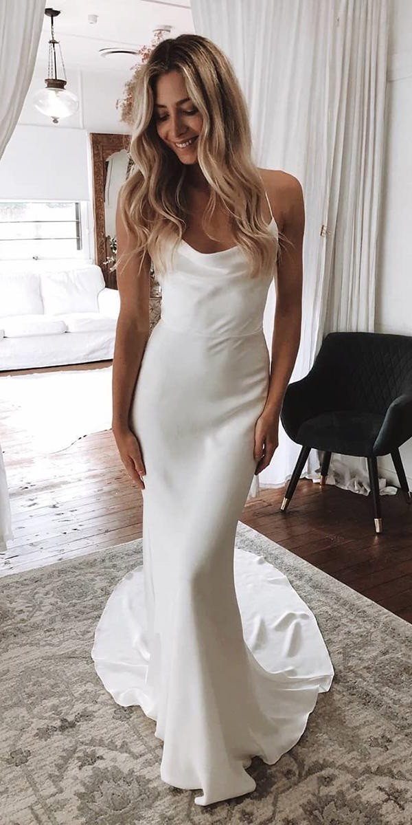 simple wedding dresses sheath with spaghetti straps boho rustic grace loves lace