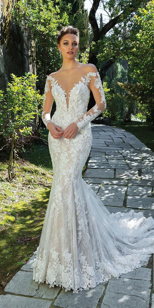 sweetheart mermaid wedding dresses with illusion sleeves with train justin alexander